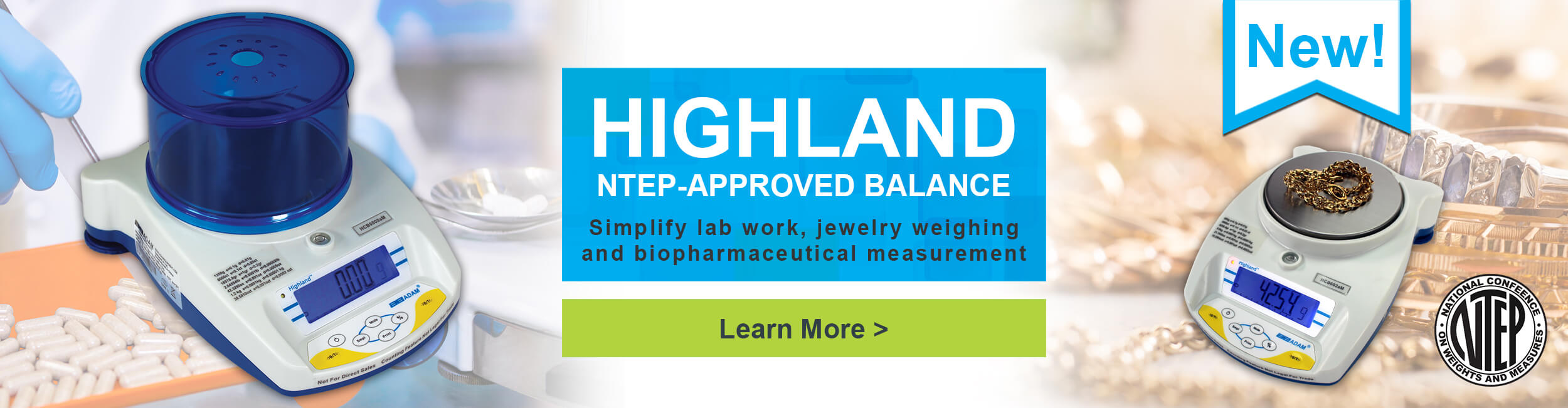 Highland NTEP-Approved Balance. Simplify lab work, jewelry weighing and biopharmaceutical measurement.